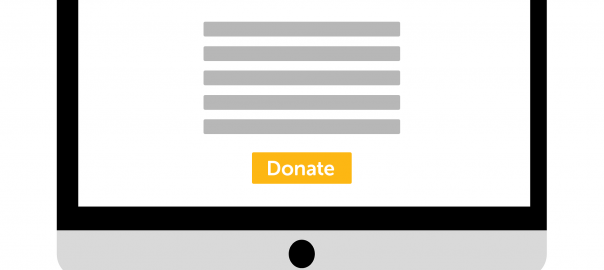 computer screen for online donation